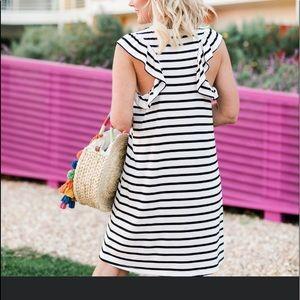 Gibson White/Black Stripe Dress NWOT Small